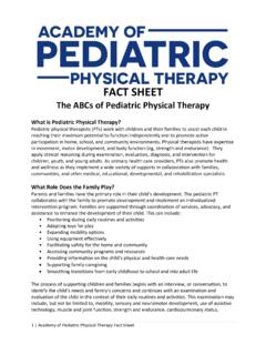 The ABCs of Pediatric Physical Therapy
