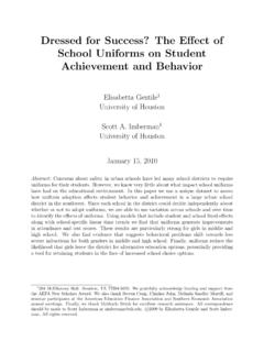 Dressed for Success? The E ect of School Uniforms on ...