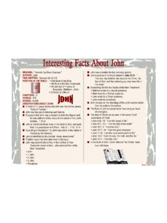 Interesting Facts About John - Bible Charts