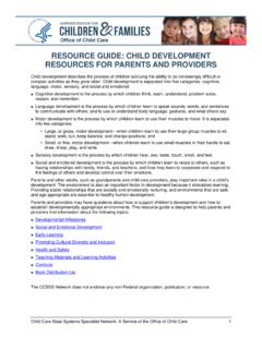 Resource Guide: Child Development Resources for Parents ...