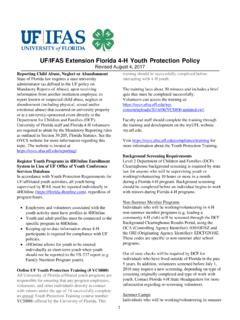 UF/IFAS Extension Florida 4-H Youth Protection Policy
