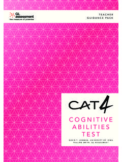 COGNITIVE ABILITIES TEST - GL Education