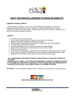 NAVY GETAWAYS LODGING PATRON ELIGIBILITY
