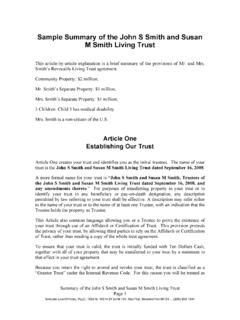 Sample Trust Summary for Smith Joint Revocable Living …