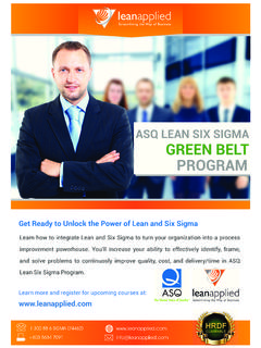 ASQ LEAN SIX SIGMA GREEN BELT PROGRAM
