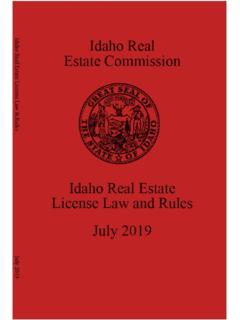 July 2019 Idaho Real Estate License Law & Rules - i - IREC