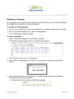 Submitting a Timesheet - UltiPro Training