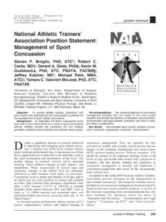 National Athletic Trainers' Association Position Statement ...