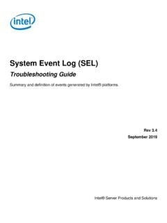 System Event Log Troubleshooting Guide - Intel