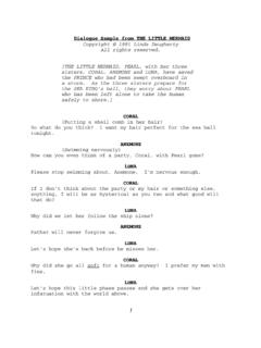 Dialogue Sample from THE LITTLE MERMAID Copyright © …