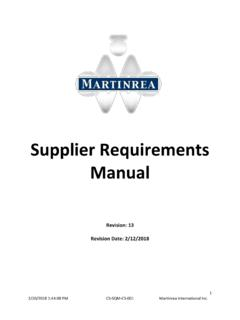 Supplier Requirements Manual - Martinrea
