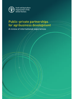 Public–private partnerships for agribusiness development