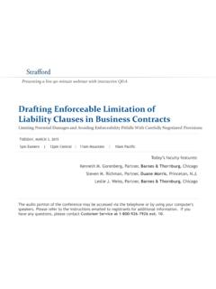 Drafting Enforceable Limitation of Liability Clauses …