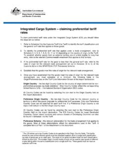 Integrated Cargo System – claiming preferential tariff rates