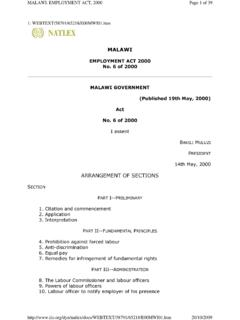 Malawi - Employment Act No 20 of 2000