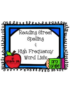 Reading Street Spelling High Frequency Word Lists