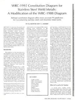 WRC-1992 Constitution Diagram for Stainless Steel Weld ...
