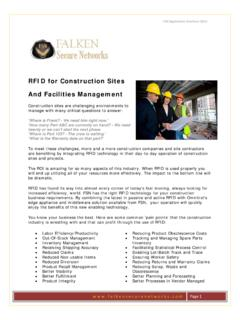 RFID for Construction Sites And Facilities …