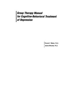 Group Therapy Manual for Cognitive-Behavioral …