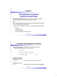 Lecture 1 Thermodynamics of Surfaces; Equilibrium …