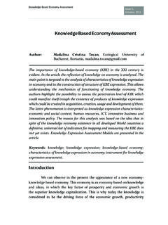 Knowledge Based Economy Assessment - Scientific Papers