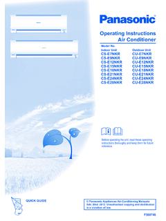 Operating Instructions Air Conditioner - Panasonic