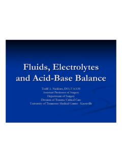 Fluids, Electrolytes and Acid-Base Balance