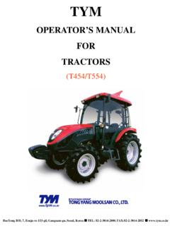 OPERATOR'S MANUAL FOR TRACTORS