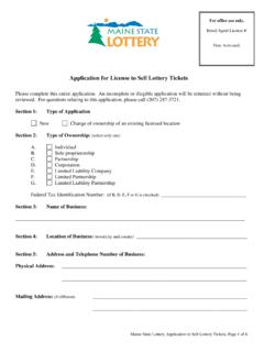 Application for License to Sell Lottery Tickets