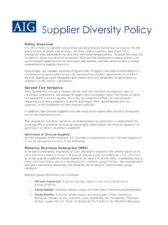 Supplier Diversity Policy - AIG