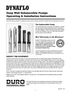 Deep Well Submersible Pumps Operating & …