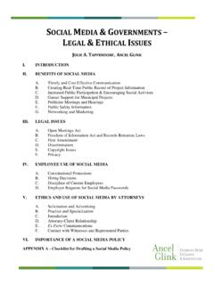 SOCIAL MEDIA & GOVERNMENTS LEGAL & ETHICAL …