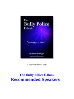 The Bully Police E-Book Recommended Speakers