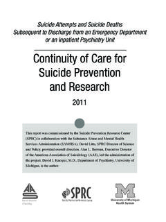 Continuity of Care for Suicide Prevention and Research