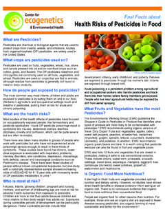 Fast Facts about Health Risks of Pesticides in Food
