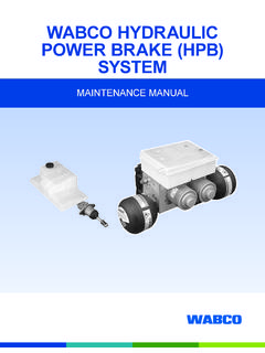 WABCO HYDRAULIC POWER BRAKE (HPB) SYSTEM
