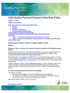 2020 Quality Payment Program Final Rule FAQs