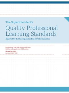 The Superintendent's Quality Professional Learning Standards