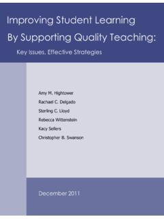 Improving Student Learning By Supporting Quality Teaching