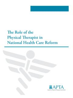 The Role of the Physical Therapist in National Health Care ...