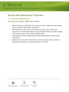 Social and Behavioral Theories - OBSSR e-Source