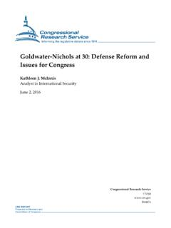 Goldwater-Nichols at 30: Defense Reform and Issues for ...