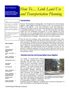 """How To"" Planning Series How To… Link Land Use …"