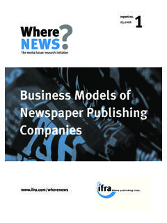 Business Models of Newspaper Publishing Companies