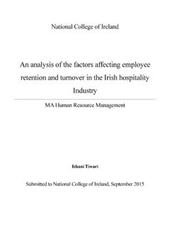 {{An analysis of the factors affecting Employee retention ...trap.ncirl.ie/2050/1/ishanitiwari.pdfNational College of Ireland An analysis of th