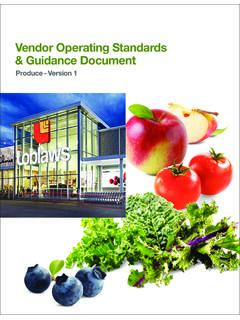 Vendor Operating Standards & Guidance Document