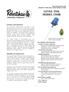 Product Specification Model 5318B - Robertshaw …