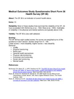 Medical Outcomes Study Questionnaire Short Form 36 …