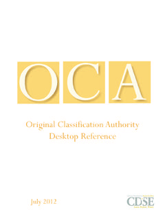Original Classification Authority Desktop Reference - CDSE