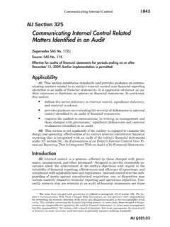 Communicating Internal Control Related Matters …